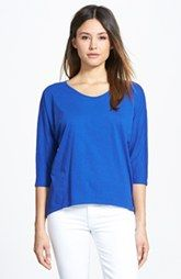Eileen Fisher Rounded V-Neck Organic Cotton Tee (Online Only)