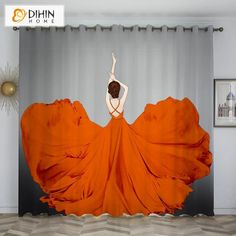 DIHINHOME Home Textile Kid's Curtain DIHIN HOME 3D Printed Dance Lady Blackout Curtains,Window Curtains Grommet Curtain For Living Room ,39x102-inch,2 Panels Included Printed Curtains, Kids Curtains, Window Curtains, Rod Pocket Curtains, Grommet Curtains, Blackout Curtains, Curtain Length, Room Darkening