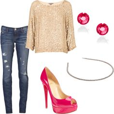 love the pretty sparkly shirt and pink heels