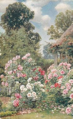 roses across bottom of card, roof and part pillars of gazebo upper right - TuckDB Postcards Nature Aesthetic, Flower Aesthetic, Garden Painting, Garden Art, Cottage Art, Aesthetic Painting, Renaissance Art, Pretty Art, Beautiful Paintings