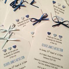 Handmade Christening Invites | Baby Boy | Blue | Hearts | Jessica Bradley | Instagram.com/jessbradhandmade