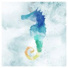 """Canvas seahorse print with watercolor inspiration.   Product: PrintConstruction Material: Canvas and MDFColor: MultiFeatures: Ready to hangDimensions: 12"""" H x 12"""" W Cleaning and Care: Wipe with a dry cloth"""