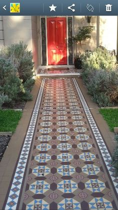 Victorian tessalated front path Front Path, Outdoor Rooms, Outdoor Decor, Entertainment Area, Tiling, Rabbit Hole, House Front, Outdoor Entertaining, Front Doors