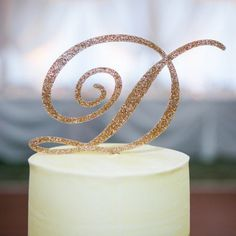 Glitter Initial Cake Topper by Beau-coup