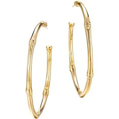 John Hardy Bamboo 18K Yellow Gold Large Hoop Earrings ($1,855) ❤ liked on Polyvore featuring jewelry, earrings, hoop earrings, gold bamboo earrings, gold jewelry, yellow gold earrings and gold hoop earrings