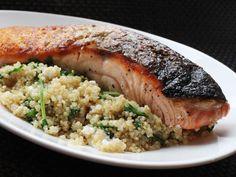 Skillet Salmon with Quinoa, Feta and Arugula