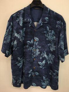 MENS 2XL XXL TOMMY BAHAMA HAWAIIAN SHIRT BLUE ALOHA FLORAL SILK CASUAL #TOMMYBAHAMA #Hawaiian