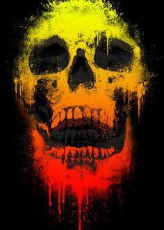 skull urban color neon urban skull skeleton face unique illustration photoshop