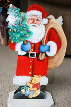 """15x10"""" Hand painted Santa Claus, his bag of goodies, a decorated Christmas tree, Winnie the Pooh and his """"Hunny"""" pot by sherrylpaintz."""
