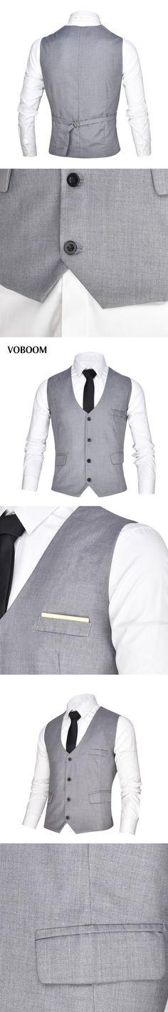 VOBOOM Business Grey Mens Vests Suit Sleeveless Male Waistcoat Wedding Dresses Classic Colete Masculino Social Blazer 004 #menweddingsuits