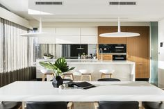 Kitchen design with subtle contrasts - White / light timber. White Light, Greg Davies, Luxury Homes, Kitchen Design, Architects, Table, Projects, Furniture, Home Decor