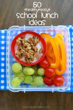 50 easy healthy school lunch ideas - easy on the sandwiches Kids Lunch For School, Healthy School Lunches, Lunch To Go, Healthy Snacks, Healthy Eating, Healthy Recipes, School School, School Snacks, Lunch Time