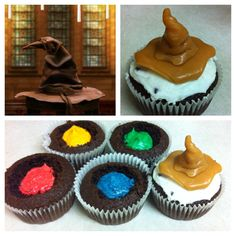 Harry Potter Sorting Hat Cupcakes - I love this idea for Harry Potter inspired party. Baby Harry Potter, Harry Potter Motto Party, Gateau Harry Potter, Harry Potter Fiesta, Harry Potter Thema, Harry Potter Sorting Hat, Theme Harry Potter, Harry Potter Baby Shower, Harry Potter Food