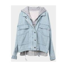 Yoins Hoodies Vest Bat-wing Button Closure Light Blue Denim Jacket ($48) ❤ liked on Polyvore featuring outerwear, blue, denim jacket and jean jacket