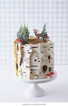 How To Make A Winter Birch Tree Cake - backen - Kuchen Bilder Mini Cakes, Cupcake Cakes, Birch Tree Cakes, Gateau Baby Shower, Spice Cake Recipes, Salty Cake, Savoury Cake, No Bake Cake, Cake Designs