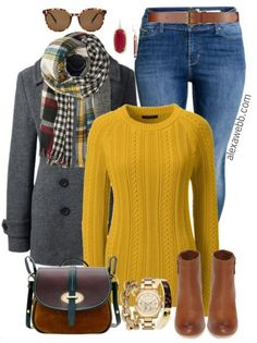 Mustard is such a great autumn color! And this reversible plaid scarf perfectly matches this plus size mustard sweater. Add a classic peacoat and accessories for the quintessential fall outfit. Plus Size Mustard Sweater Outfit Shop the Look Sunglasses Sc Mustard Sweater Outfit, Sweater Outfits, Sweater Dresses, Mode Outfits, Fall Outfits, Fashion Outfits, Womens Fashion, Fashion Boots, Plus Size Fall