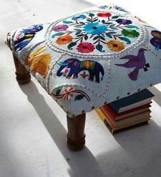 Low footstool upholstered in richly embroidered elephant motif. Fixed around edges with brass studs and finished with polished wooden legs. Mexican Embroidery, Crewel Embroidery, Bohemian Decor, Gypsy Decor, Boho Chic, Diy Furniture, Home Accessories, Upholstery, Sweet Home