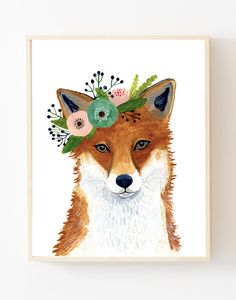 Flower crown animals Woodland animals print set Set of 6