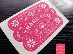Papel Picado  Personalized Thank you cards  Set of 10