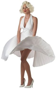 Description Become an American icon as Marilyn Monroe this Halloween. The Marilyn Monroe Costume includes a long, haltered white pleated dress. Marilyn Monroe Halloween Costume, Costumes Sexy Halloween, Cool Costumes, Adult Costumes, Costumes For Women, 1950s Costumes, Women Halloween, Adult Halloween, Halloween Party