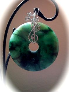 Jade Collection - KaReNNSToNe  wire wrapped jade donut pendant