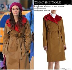WHAT SHE WORE: Leighton Meester as Blair Waldorf Gossip Girl season 6 wore double breasted khaki red coat #fashion #gossip #girl #style #blair #waldorf
