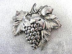 Jewel Art Sterling Pin Grapes Vine Vintage by victoriajamesdesigns, $38.00