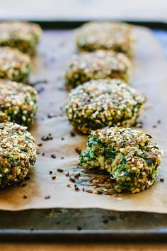 broad bean quinoa cakes with kale, ginger + garam masala