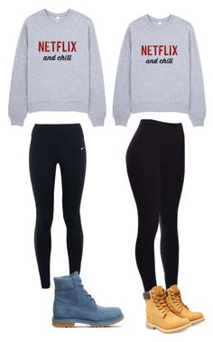 """""""For u and your BFF. Your BF gf outfit"""" by rwisawesome on Polyvore featuring beauty, NIKE and Timberland"""