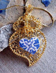 Portugal Silver Filigree Heart of Viana with Antique Blue Azulejo Tile Replica Necklace from Porto Sterling Silver in 24k Gold Bath