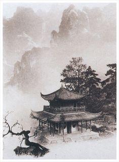 The world according to Chin-san Long Chinese Landscape Painting, Japanese Landscape, Chinese Painting, Landscape Paintings, Zen Painting, Ink Paintings, Japanese Artwork, Japanese Painting, Landscape Tattoo