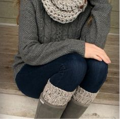 Wooly charcoal grey sweater. And little leg Warmers for under boots