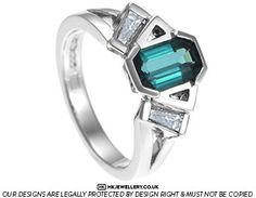 Unique Art Deco inspired tourmaline and diamond engagement ring