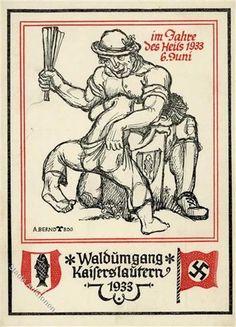 Propaganda WK II Kaiserslautern (6750) Waldumgang 1933 sign. Bernd, A. I-II: Ansichtskarten-Center Onlineshop