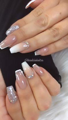Nail Designs With Gems, Natural Nail Designs, Long Nail Designs, Ombre Nail Designs, Glitter Ombre Nails, Gliter Nails, Gem Nails, Diamond Nails, Acrylic Nails Yellow