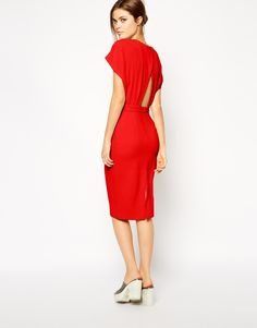 ASOS Pencil Dress in Crepe with Cross Back