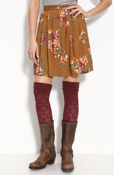 Boots and a over the knee sock paired with a dress or skirt. I love this look!