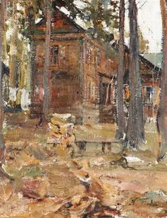 Nicolai Fechin - House in the Forest; Medium: Oil on canvas mounted on board; Dimensions: 18 X 14 in (45.72 X 35.56 cm)