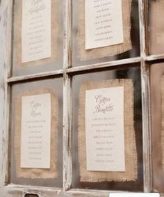 seating chart. with burlap! @Meghan Hoar