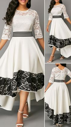 White Asymmetric Hem Lace Panel Dress