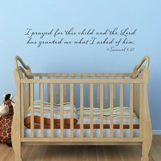 For This Child I Have Prayed Nursery Wall Decal Vinyl Wall Decal - Bible verse nursery wall decals