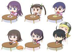 Bakemonogatari [anime], Nekomonogatari (Black) [anime], Bakemonogatari Portable [game], Artworks / Fanart [tag], chibi [tag], food / sweets / icecream / cooking [tag], funny [tag], glasses / megane [tag], Hitagi Senjougahara [tag], loli [tag], Mayoi Hachikuji [tag], Nadeko Sengoku [tag], schoolgirls / seifuku [tag], Shinobu Oshino [tag], Suruga Kanbaru [tag], Tsubasa Hanekawa [tag]