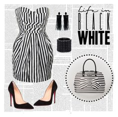 Black & White Stripes by ebbyinez on Polyvore featuring polyvore, fashion, style, Forever Unique, Christian Louboutin, Kenneth Cole Reaction, Valentino, Oscar de la Renta, Deborah Lippmann and clothing