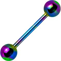 14 Gauge Rainbow Anodized Titanium Barbell Tongue Ring