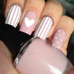 99 Stunning Diy Heart Nail Art Ideas For Valentines Day - Nails Design Heart Nail Designs, Elegant Nail Designs, Elegant Nails, Stylish Nails, Trendy Nails, Nail Art Designs, Mint Nail Designs, Nails Design, Design Design