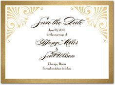 A classic Save the Date design featuring delicate metallic inspired embellishments and a classic template.
