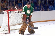 Gump Worsley makes a stop for the Minnesota North Stars during the 1970's.