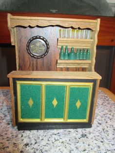 This dolls house furniture was made by Lisa of Denmark, gorgeous quality & design. fantastic home bar complete with beer bottles on the shelf! made of wood & plastic. very hard to find piece. | eBay!