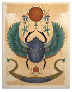 Una impresión hermosa 11 x 14 pulgadas del Dios Sol, Ra con el cuerpo de un escarabajo y Halcón extendida alas empujando el sol a través del cielo. En el fondo hay jeroglíficos del antiguo Egipto y tiene una mirada un poco angustiada, como una pintura que se vería en una tumba antigua. La original fue mezcla de medios.  El arte se imprime en calidad excelente en una papel de fibra hecho a mano. El papel es de color bronceado claro natural y tiene una textura agradable que da las impresiones…