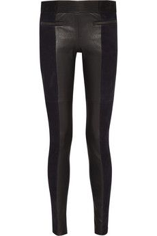 Isabel Marant Idris suede and leather skinny pants   THE OUTNET